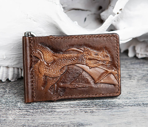 Зажим для купюр ручной работы с драконом