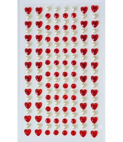 Стразы самоклеющиеся сердечки+жемчуг красные 152 шт