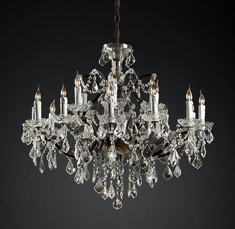 19th C. Rococo Iron & Clear Crystal Round Chandelier 33