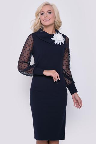 """В этом очаровательном платье Вы будете чувствовать себя королевой!  Приталенный силуэт, рукав длинный с манжетом из сетки - стрейч. Ворот """"хомут"""". (Цветок в стоимость не водит, приобрести можно в разделе """"Аксессуары"""") Длина платья: 100 см.,длина рукава 64см."""