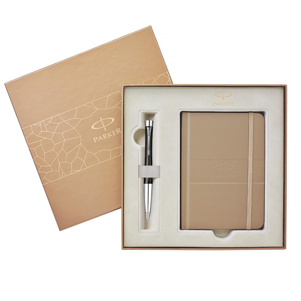 Набор подарочный Parker Urban Premium - Ebony Metal Chiselled, шариковая ручка, M+блокнот