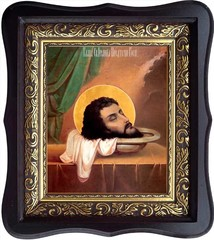 Усекновенная глава Иоанна Предтечи. Икона на холсте.