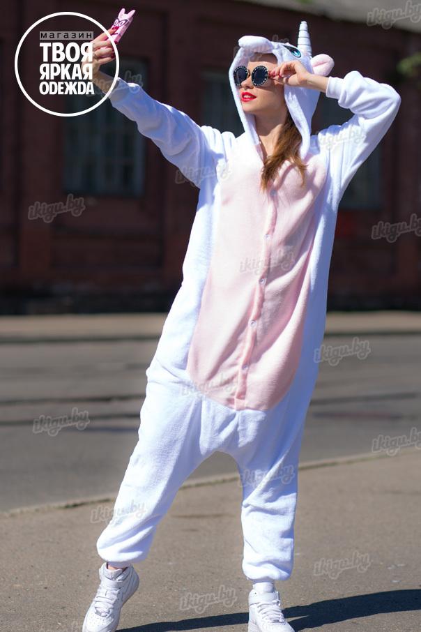 Пижамы кигуруми Единорог Нежно - Розовый unicorn_white-pink.jpg