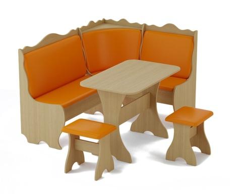 Кухонный угол МИРАНО-01 дуб беленый / кожзам оранжевый