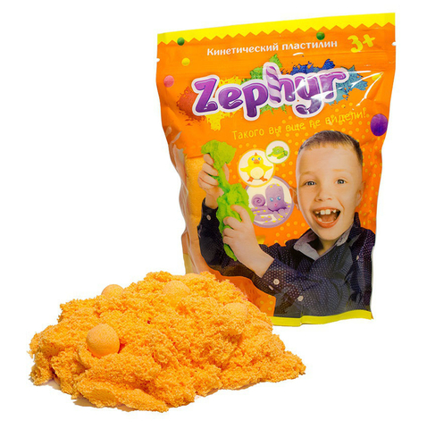Кинетический пластилин Zephyr (Зефир) в дой-паке, оранжевый 300 гр