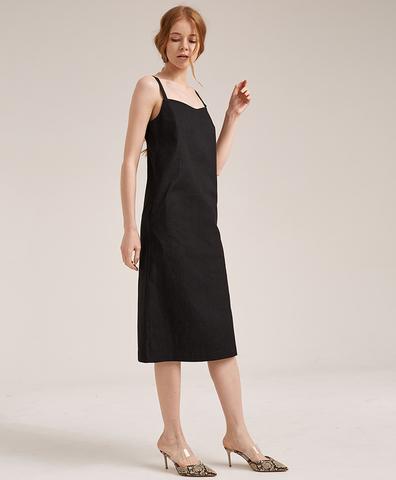 Платье-сарафан на бретелях черное