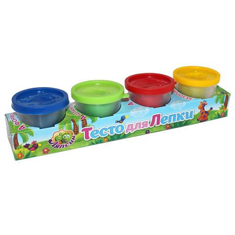 Тесто для лепки в индивидуальных баночках с формами 4 цвета 200гр/П122