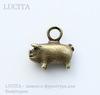 """Подвеска """"Свинья"""" 12х11 мм (цвет - античная бронза)"""