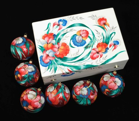 Zhostovo Christmas balls in wooden box - set of 6 balls SET04D-667785782