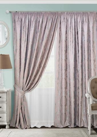 Комплект штор с тюлем и подхватами жаккард Вера розовый