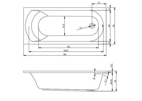 Ванна акриловая Riho Miami 180X80 BB64 на каркасе с фронтальной панелью и сливом переливом
