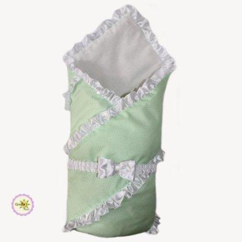 Конверт одеяло для новорожденных Бизе салатовый