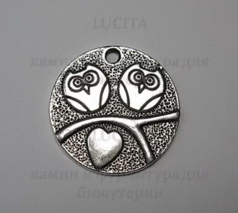 """Подвеска """"Влюбленные совы"""" 25 мм (цвет - античное серебро)"""