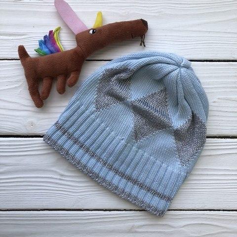 Небесная шапка с серебром  6\12 месяцев