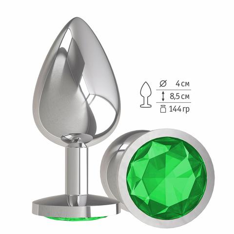 Анальная втулка Silver с зеленым кристаллом большая фото