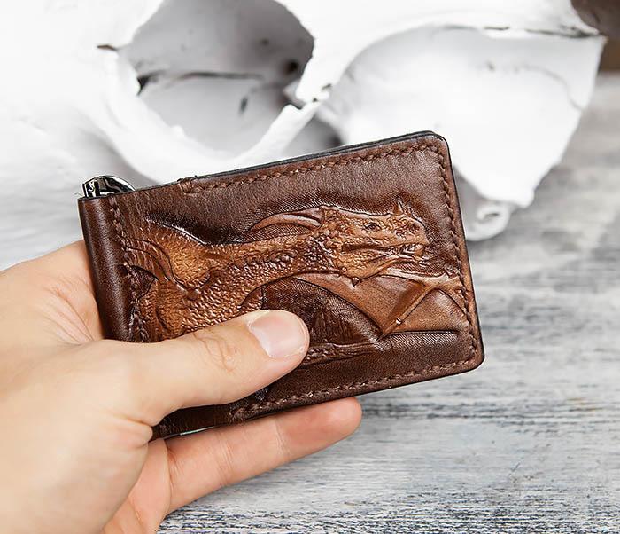 WL310 Зажим для купюр ручной работы с драконом фото 11