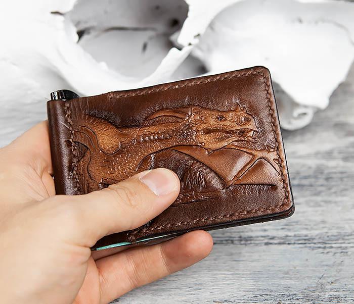 WL310 Зажим для купюр ручной работы с драконом фото 12