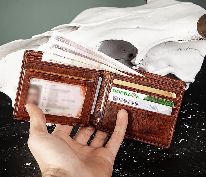WL328-2 Портмоне с орлом из натуральной кожи фото 09
