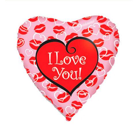 Шар Сердце с поцелуями I Love You