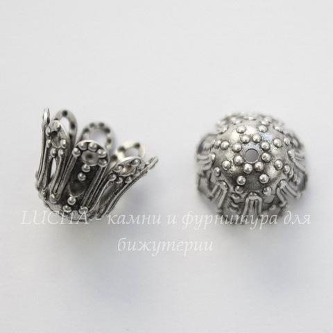 Винтажный декоративный элемент - шапочка 11х9 мм (оксид серебра)