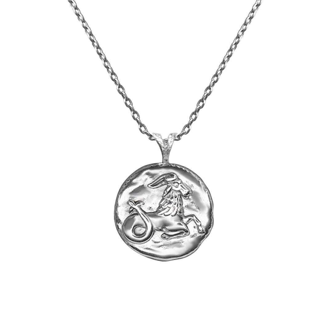 Pendant, Zodiac sign Capricorn on a chain, sterling  silver