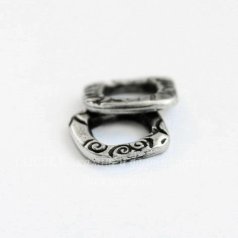 """Коннектор квадратный TierraCast """"Жардин"""" 13х12 мм (цвет-античное серебро)"""