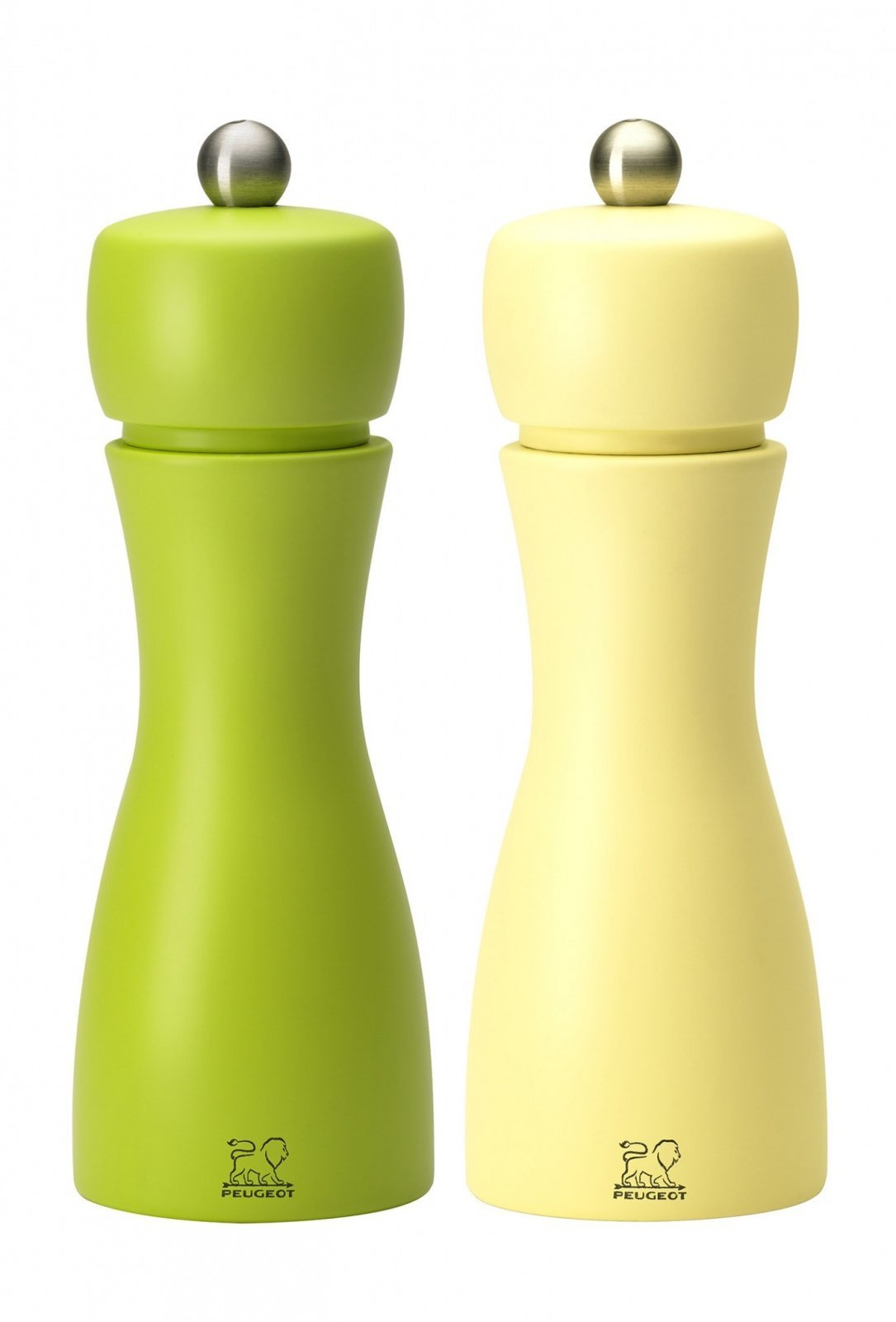 Мельницы Tahiti Peugeot для соли и перца, 15 см, желтый+салатовый (набор)