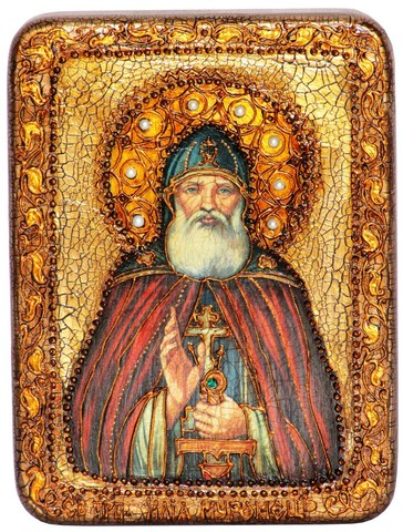 Инкрустированная икона Преподобный Илия Муромец, Печерский 20х15см на натуральном дереве в подарочной коробке