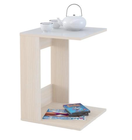 Стол приставной Mayer 1 дуб молочный/стекло белое