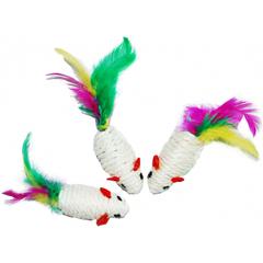 Уют игрушка для кошек Мышь-погремушка сизаль белая с перьями