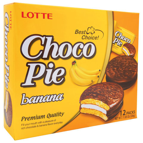 """Печенье """"LOTTE"""" Choco Pie Банан 12шт"""