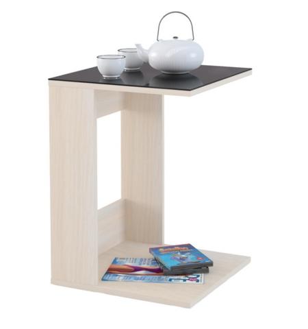 Стол приставной Mayer 1 дуб молочный/стекло черное
