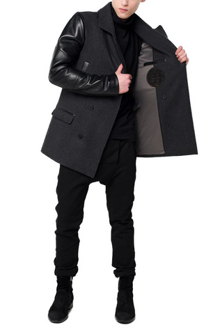 Pea jacket with leather inserts