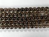 Нить бусин из кварца дымчатого, фигурные, 6 мм (шар, граненые)