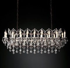 19th C. Rococo Iron & Clear Crystal Rectangular Chandelier 51