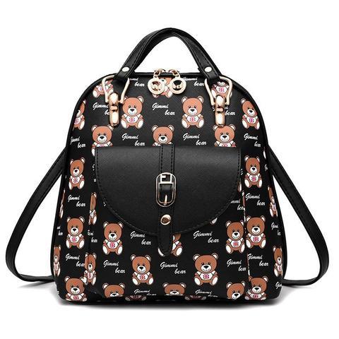 Средний стильный женский повседневный рюкзак черного цвета с рисунком из экокожи Dublecity 4698-2