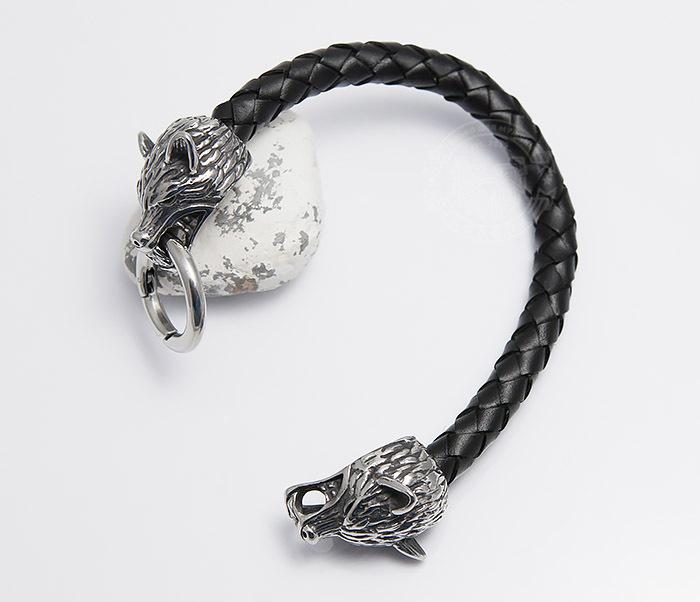 BM471 Мужской браслет из шнура со стальными волками (20 см) фото 02