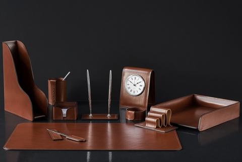 Настольный набор для рабочего стола 10 предметов из кожи Full Grain Toscana, Dk.Таn