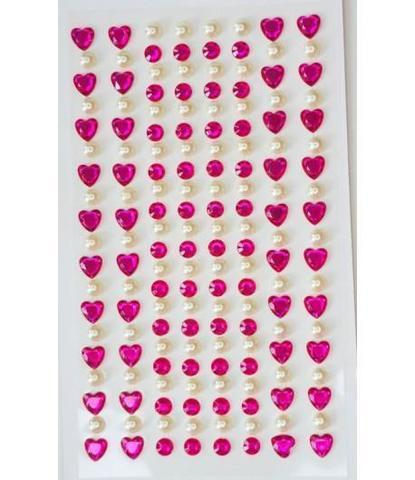 Стразы самоклеющиеся сердечки+жемчуг малиновые 152 шт