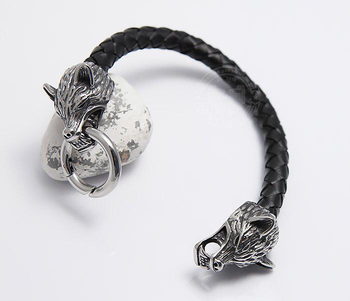 BM471 Мужской браслет из шнура со стальными волками (20 см) фото 03