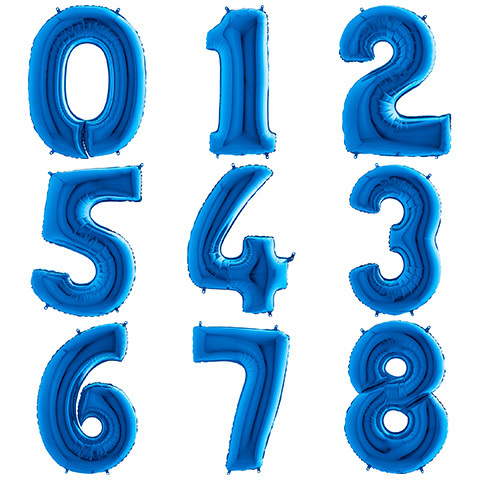 Летающие Цифры с Гелием Синие