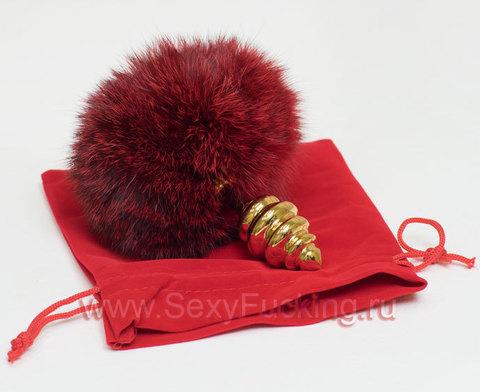 Анальная пробка с хвостиком зайчика красного цвета