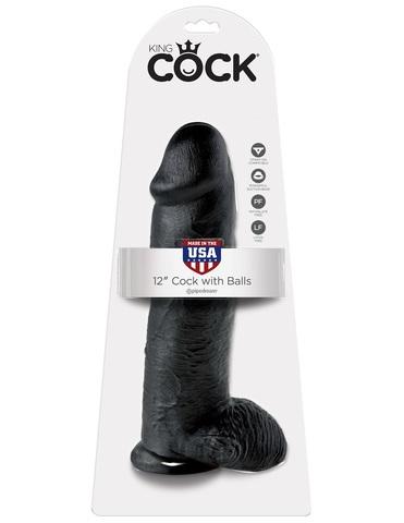 Фаллоимитатор на присоске 12 Cock with Balls черный King Cock фото