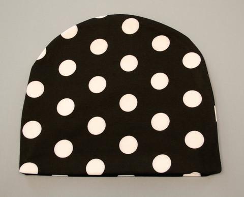 Фэшн. Молодёжные женские шапки. Черный в белый горох.