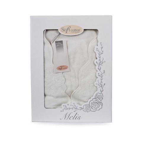 MELIS - МЕЛИС бежевый махровый  женский халат Soft Cotton (Турция)