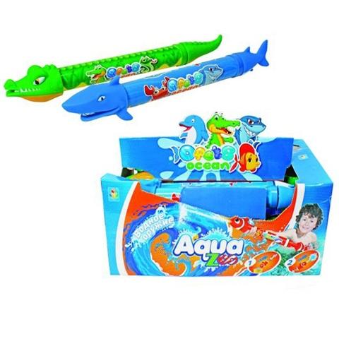 1toy Аквамания Водная помпа в виде акулы/крокодила 46 см, 0,354гр  1кор*8бл*6шт