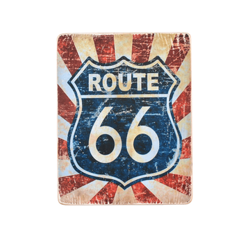 Wood Постер Route 66 #1 Blue and red