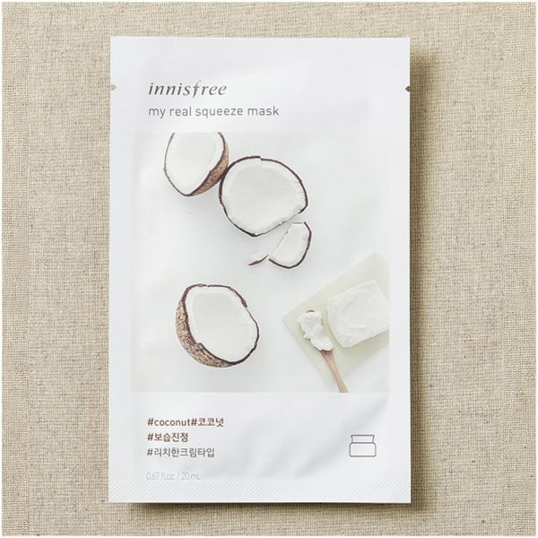 Тканевая маска для лица с экстрактом Кокоса Innisfree My Real Squeeze Mask Coconut, 20 ml