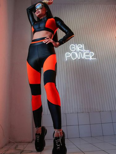 Леггинсы - Orange neon leggings